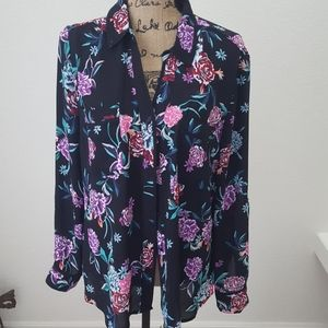 Candies silk floral long sleeve blouse